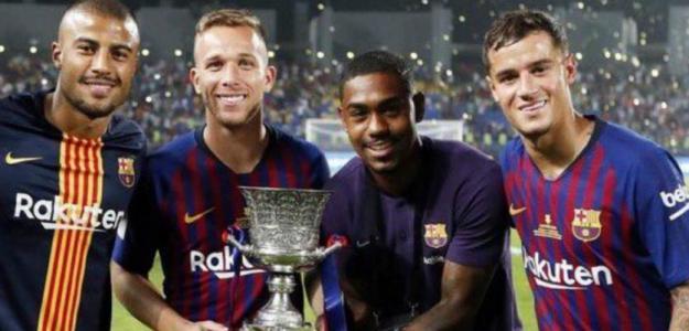 Rafinha, Arthur, Malcom y Coutinho (FC Barcelona)