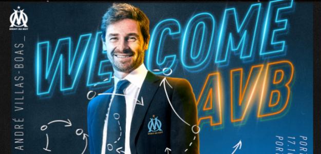 André Villas Boas en el cartel de presentación como técnico del Olympique. Foto: OM.net