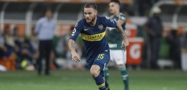 Nahitán en un partido con Boca. / futbol.com.uy