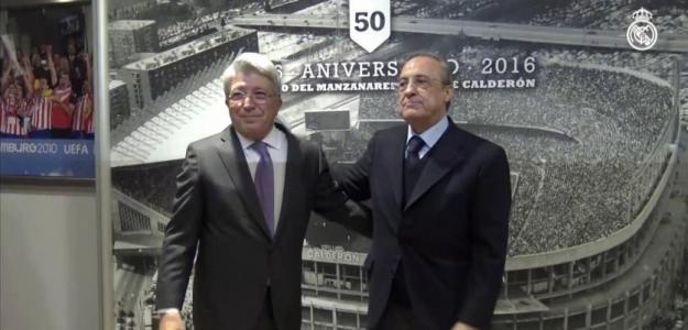 Enrique Cerezo y Florentino Pérez ante los medios de comunicación. Foto: Realmadrid.com