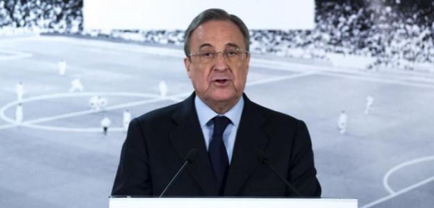 Florentino Pérez, en una comparecencia ante los medios / Getty.