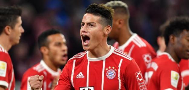 James Rodríguez celebrando un gol con el Bayern. Foto: FCBayern.com