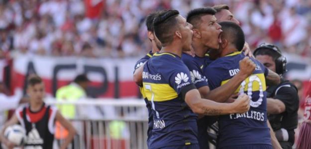 Boca celebrando un gol ante River. / clarin.com