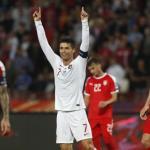 Cristiano celebrando un gol con Portugal. / hindustantimes.com