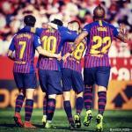 Coutinho, Messi, Alba y Vidal celebrando un gol (FC Barcelona)