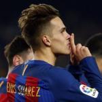 Denis Suárez se aleja del Valencia / fcbarcelona.es