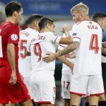 Kjaer celebra un gol con sus compañeros (EFE)