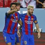 Luis Suárez y Leo Messi durante un encuentro de Liga. Foto: FCBarcelona.es