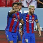 Luis Suárez y Leo Messi celebrando un gol. Foto: FCBarcelona.es