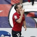Nino celebra un gol en el Reyno de Navarra
