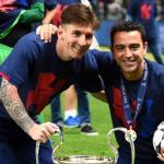 Xavi celebra con Messi la Champions conquistada en 2015 / UEFA
