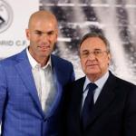 Zinedine Zidane y Florentino Pérez ante los medios. Foto: RealMadrid.com